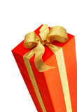 red gift with golden strip poster