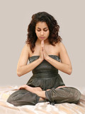 beautiful middle eastern teenage girl in yoga pose poster