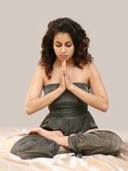 beautiful middle eastern teenage girl in yoga pose
