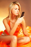 girl with cell phone poster