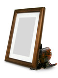 wooden photo frame and photo tape poster