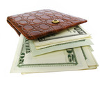 leather wallet full of dollar bills. success poster