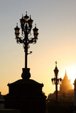 lampposts in moscow at sunset poster