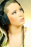 sexy girl with headphones poster