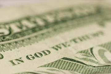 macro shot of in god we trust, fine focus on god