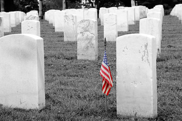 soldiers grave - selective colorization