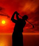 golfer silhouette - Fine Art prints