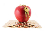 golden key and red apple, concept of success poster