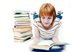 young girl student read the book poster