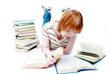 young girl read the book on white poster