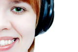 young girl in head phones poster