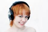 girl in head-phones poster