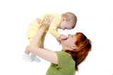 mother and baby on white poster