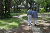 lovers on garden path poster
