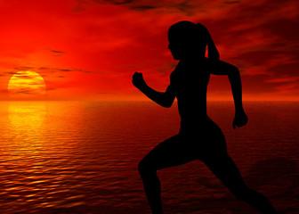 jogging by te ocean