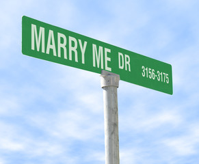 marriage themed street sign