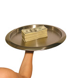 serving platter with cash poster