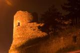 watchtower in skopje at night poster