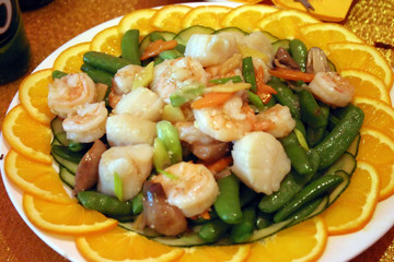 chinese king prawn and scallops