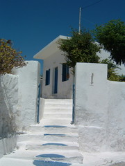 blue and white cycladic house