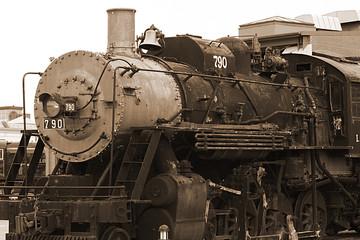 sepia-toned train