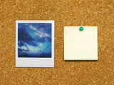 polaroid & post-it on corkboard
