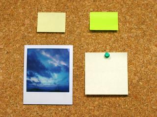 polaroid & post-it on corkboard