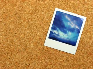 polaroid on corkboard