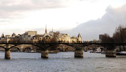 france, paris: louvre museum, nice view on le pont des arts et l