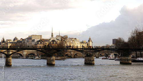 france, paris: louvre museum, nice view on le pont des arts et l