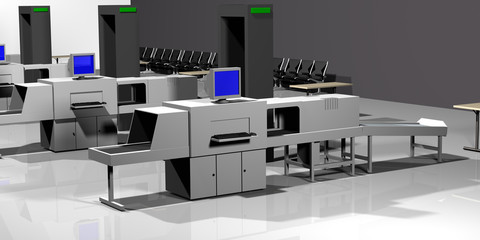 airport checkpoint 3d render