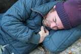 homeless man - sleeping closeup poster