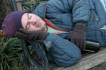 homeless man - park bench closeup