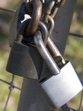 3 padlocks linked together poster