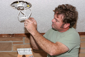 electrician checking switches