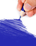 blue color drawing poster