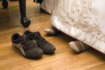 bride with tennis shoes