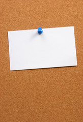 empty card on a board horizontal with space