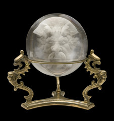 crystal ball with wizard face