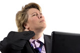 business woman having neck trouble poster