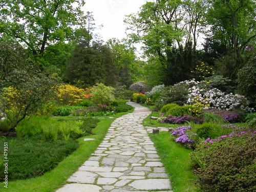 Foto op Plexiglas Tuin a stone pavement