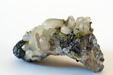 druze of crystals calcyte, quartz, epidote