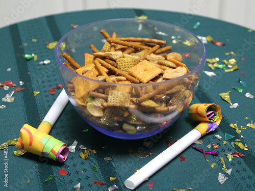 party snack mix close up