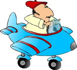 man in a toy plane