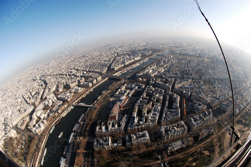 france, paris: aerial view from eiffel tower