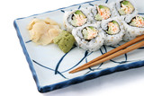 sushi roll angled on white poster