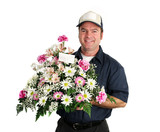 friendly flower delivery man poster