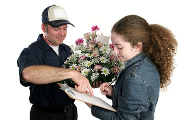 girl signing for flowers
