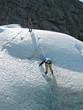 two ice climbers: teamwork