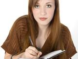 beautiful redhead teen writing in datebook poster
